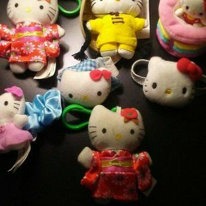 Lot or 7 Sanrio Hello Kitty Key Chains, Hair Bands